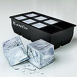(アイラブコス)iLoveCos JP 8個四角氷 製氷皿 シリコーン製 ブラック