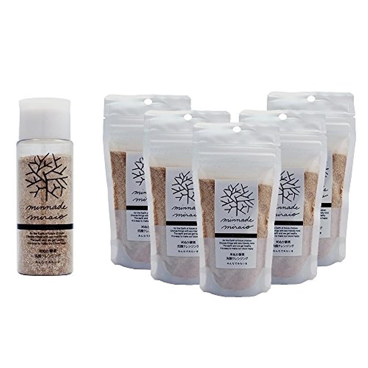 ナプキンカストディアンに関してみんなでみらいを 100%無添加 米ぬか酵素洗顔クレンジング 容器入りと詰替え5パックのセット