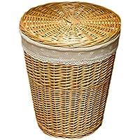 丸みを帯びたランドリーバスケットラタンの綿のリネンライニング汚れたハンパーの服雑貨のストレージバスケット (色 : 木の色, サイズ さいず : 32 * 43 * 50cm)