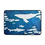 AOMOKI 玄関マット カーペット ノーマット 室内 屋内用 北欧 滑り止め 40x60cm 海 鯨 ブルー かわいい きれい