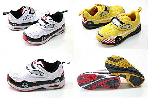 トミカ 光る靴 靴 TOMICA 10580 10581 トミカワールド パトロールカー パトカー 道路パトロールカー 男の子 黄 白黒 歩くと光る プラレール マジック スリッポン キッズスニーカー 子供靴 トミカ (17cm, 10581イエロー)