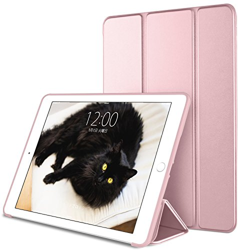 DTTO iPad Mini 1/2/3 ケース 超薄型 超軽量 生涯保証 TPU ソフト PUレザー スマートカバー 三つ折り スタンド スマートキーボード対応 キズ防止 指紋防止 [オート スリープ/スリー プ解除] ローズゴールド
