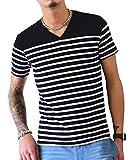 ジョーカーセレクト(JOKER Select) Tシャツ メンズ 半袖Tシャツ Vネック ボーダー ウィンドペン チェック カットソー M ブラック/ホワイト(ボーダー)