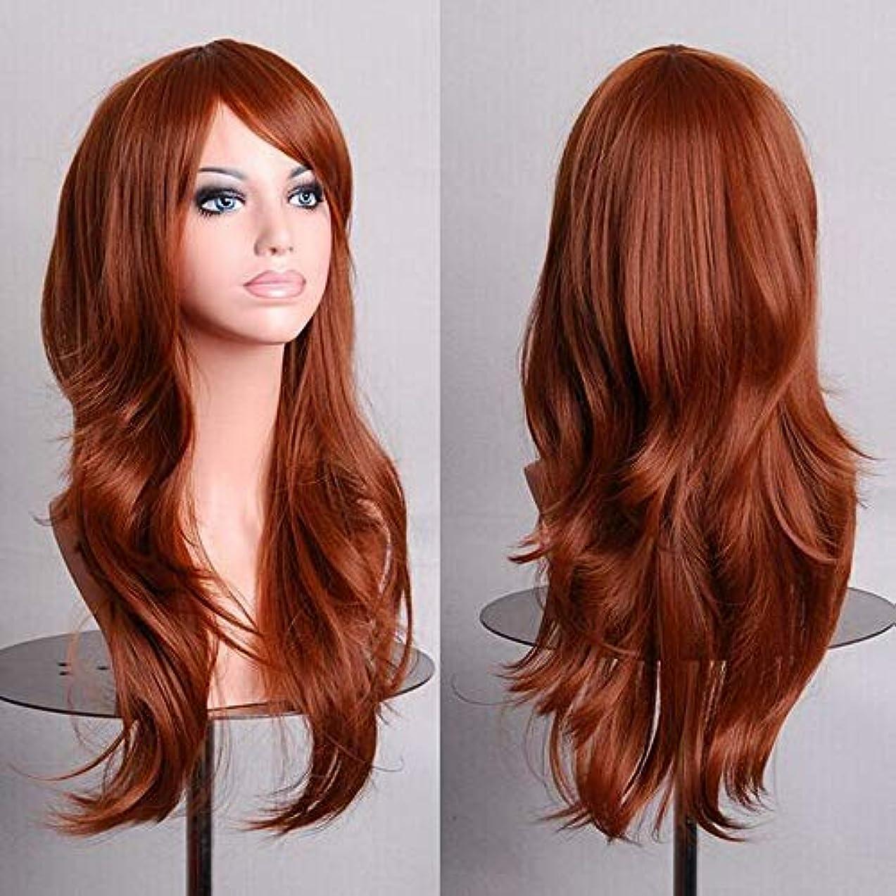 女性のための色のかつら長いウェーブのかかった髪、高密度温度合成かつら女性のグルーレスウェーブのかかったコスプレヘアウィッグ、耐熱繊維ヘアウィッグハロウィン用、黄色ウィッグ27.55インチ (Color : Brown)
