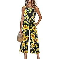 INIBUD Jumpsuits for Women Floral Leaf Waist Tie Wide Leg Chiffon Cute Loose Sleeveless Cute Summer