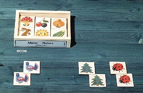 Atelier Fischer Wooden Nature Memory Game in Wooden Box (48 Tiles / 24 Matching Pairs)