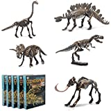 5 Different Dinosaur Skeleton Puzzles 3D DIY Skeleton Model Kit Edu Party Toys Set for Kids Ages 6 and Up