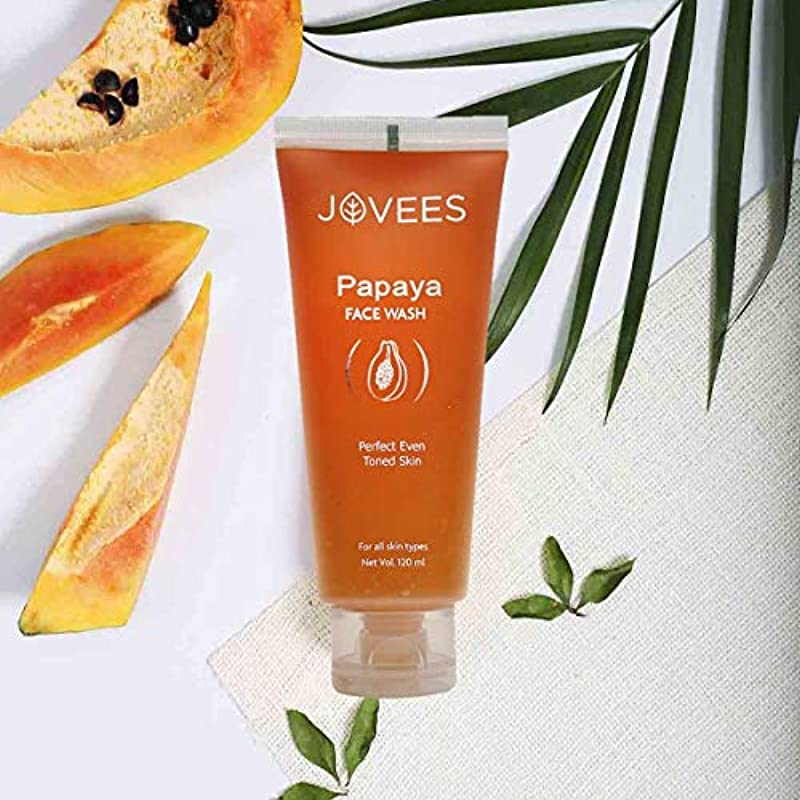 圧縮騒ぎ手綱Jovees Papaya Face Wash 120ml Papaya & Vitamin A For Perfect Even Toned Skin パパイヤ洗顔用パパイヤ&ビタミンA