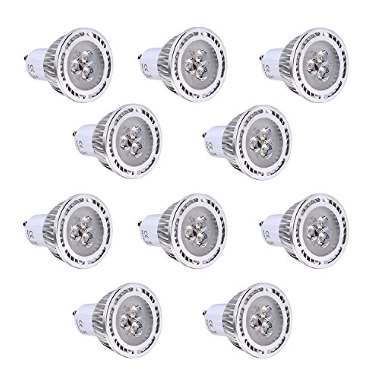フォージ愛人発音するGU10 3W SMD 3030 200-300 LMウォームホワイト/クールホワイトクリアLEDスポットライトAC 85-265V AC 220-240V AC 110-130V(10個) (色 : 110-130V, サイズ : 暖かい白)