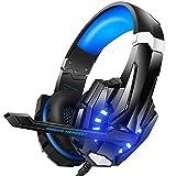 Bengoo ゲーミングヘッドセット ゲーミングヘッドホン全効能 密閉型 ゲーム用ヘッドセット重低音 高音質 マイク付き ステレオゲーミングヘッドセット 騒音隔離 音量調整機能付き forPS4 SWITCH XBox one PCに対応 (青)