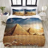 NIKIVIVI 布団カバーセット,エジプト旅行飛行中のワシ鳥自然サンシャインと砂漠の古いエジプトのピラミッドの歴史,敷布団カバー 布団カバー 優しい肌触り家庭用ベッド,ダブル(190x210cm)
