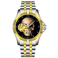 男性用の高級自動機械式時計、防水腕時計の自動風ファッション腕時計 041.Dead Human Skull Skeleton Bones Skeletal Diales アウトドア、ビジネススタイル、ギフト(シルバーゴールド)