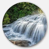DesignArt mt7133-c23 Flowing Pha dokseaw Waterfall Landscapeフォト壁アート、23 x 23、グリーン
