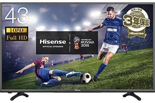 ハイセンス 43V型 フルハイビジョン 液晶テレビ 外付けHDD裏番組録画対応 メーカー3年保証 H...