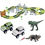 Dotopon Tracks Circuit 2 Car 142 Pieces Modular, Magic and Games Circuit Car Toy with Dinosaur Ultra Fun Accessories - As Seen on TV