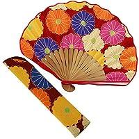 扇子 女性 扇子袋・ハンカチセット 大菊(赤) 箱入り おしゃれ ちりめん 女性用 レディース 扇子