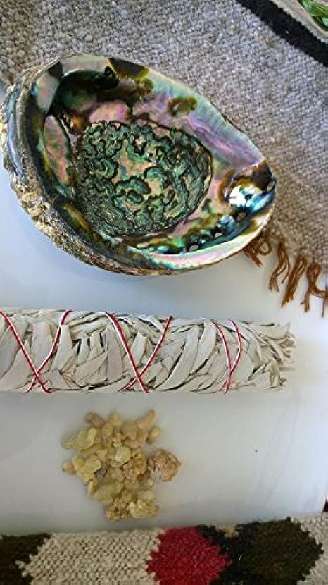 振り返るレタスうなずくホワイトセージスマッジキット、Abalone Shell , Frankincense Tears、クレンジングPurifying Clearing Wiccan Incense Gift Smudging