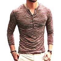 PERDONTOO Men's Casual Slim Fit Long Sleeve Henley T-Shirts Cotton Shirts