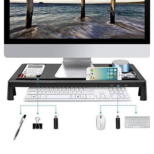 モニター台 机上台 パソコンスタンド 大容量 USBポート付...