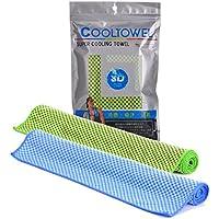 冷感タオル、クーラースポーツタオル速乾タオル紫外線カットタオル アウトドア/ヨガに最適なタオル 二枚セット