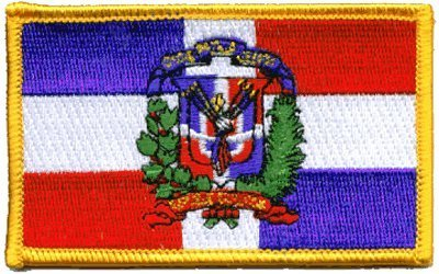 """The Flag of DOMINICAN REPUBLIC PATCH, Superior Quality Iron-On / Saw-On Embroidered Patch - Each one is individually carded and sealed in a professional retail package - 3.5"""" x 2.25"""" Inches - Made in the USA"""
