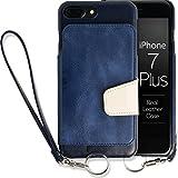 <iPhone 7 Plus用> RAKUNI (ラクニ) 本革 背面ポケット型ケース(インディゴ)前面むきだし/ストラップ付き/スタンド機能/財布がわりに(紺&白)
