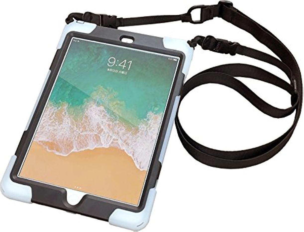 作業詳細なボア耐衝撃 簡易防塵 第6世代 第5世代 iPad 9.7インチ 専用 シリコン カバー ケース ストラップ?ハンドベルト付き 対応機種(A1893、A1954、A1822、A1823) TBC-IP5BL01S
