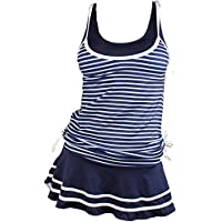 MiYang Women's Striped Tankini Set Two Piece Padded Swimsuits with Swim Skirt