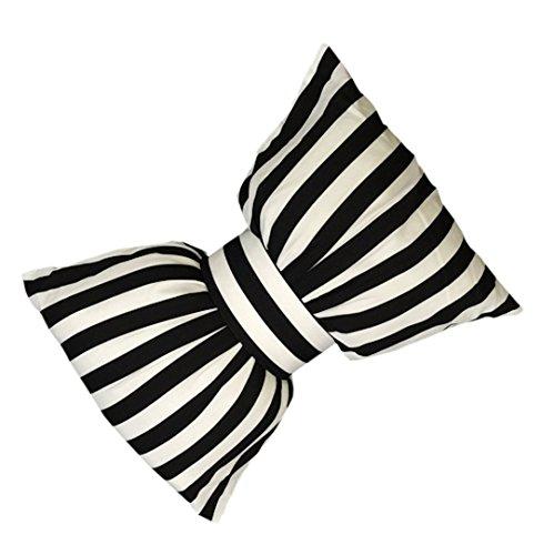 RiraMacherie Big リボン ふかふか クッション ストライプ 白 黒 おしゃれ で 可愛い インテリア (ホワイト×ブラック ストライプ, 中サイズ)