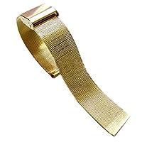 Mercuステンレススチールメッシュブレスレット時計バンドストラップダブル留め金バックルゴールド20mm