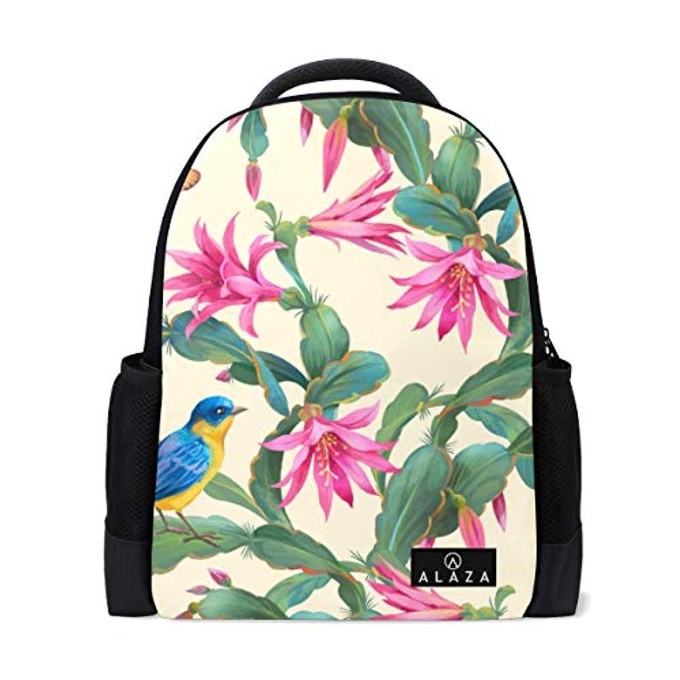 爪取得趣味旅立の店 リュックサック バックパック 青い鳥とピンクの花柄 ポリエステル+メッシュ ファッション 通勤 通学