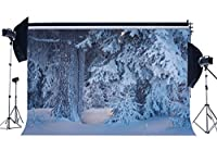 gladbuy 7x 5ftビニール写真バックドロップクリスマスツリー雪Covered Landscape素朴なForest Nature冬シーンXmas Backdrops for Baby Happy New Year背景写真スタジオ小道具xm407