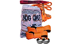 BOG OUT 'Aussie' - SUPER PRO (Twin) Vehicle Recovery Kit - TURNS WHEELS INTO WINCHES - 7T Twin Pack - 2 x BOG OUT + 2 x 15mtr Super Rope Extension + 4 x 4.5T Soft Shackles + 4 x 2T Connector Ties for complete 4x4 recovery in Mud, Sand & Snow WORKS Forwards AND Reverse