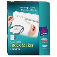 """lsk8b AveryインデックスメーカークリアラベルDivider–8–空白–8.50"""" Divider幅X 11インチDivider長–Letter–3穴パンチ–25/ボックス–ホワイトタブ"""