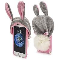 PLATA iPhone6 iPhone6s ケース ふわふわ しっぽがかわいい 着ぐるみ アニマル フード バック カバー 【 ウサギ 】 IP6-7010-01