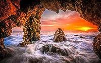 自然風景アートキャンバスプリントポスター、家の壁の装飾ポスター(海、水、穴、夕日)75X50cm