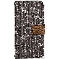 [ZI:L](ジール) iPhone8 [i6] ケース 手帳型 スマホケース nbtr010f ハワイアン デニム風プリント 食べ物柄 ブラウン ミラータイプ スマホカバー 携帯カバー