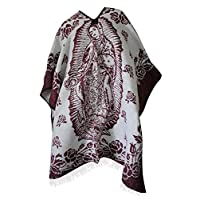 Del Mex Authentic Mexican Poncho Cobija Blanket - Virgen Guadalupe Virgin Mary