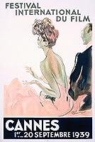 Cannes–Festival International Du Film–1939ヴィンテージポスター(アーティスト: Domergue )フランスC。1939 12 x 18 Art Print LANT-59385-12x18