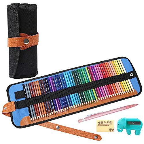 油性色鉛筆 アート鉛筆 画材セット 収納ケース 鉛筆削り付き (50色)