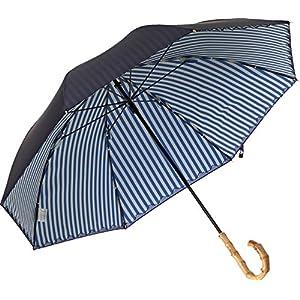 プラスニコ 長傘 手開き 日傘/晴雨兼用傘 ブルー ナイロン 遮光 プリント 2重張り 全5色 8本骨 47cm UVカット 99.9%以上 竹製ハンドル 21355