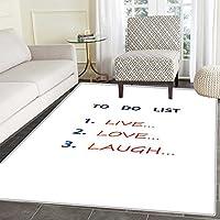 Live Laugh Love Area Rug ロマンチックデザイン 手描き ストライプと書道文字入り 屋内/屋外用 エリアラグ 2フィートx3フィート ブラックホワイトアースイエロー 4'x6'(W 120cm x L 180cm)