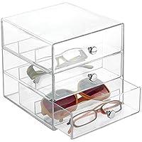 mDesign Stackable Organizer Holder Eyeglasses, Sunglasses, Reading Glasses - 3 Drawers, Clear