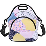 Neoprene Lunch Bag Reusable Tote Bag Insulated Lunch Box Adult Large Lunch Tote Handbag Fordable for Men & Women, Boys & Girls, Colorful Irregular