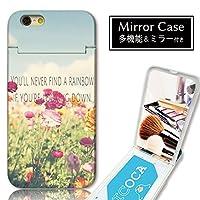 301-sanmaruichi- iPhone7 ケース iPhone7 ケース ミラーケース 鏡付き ミラー付き カード収納 おしゃれ 花 フラワー 花畑 空 英語 フォト 写真 ガーリー B