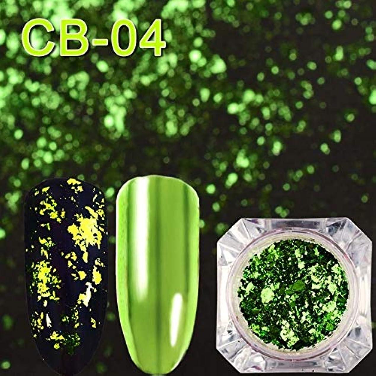 ノーブルアクセントプリーツ手足ビューティーケア 3個マジックミラーカメレオングリッターネイルフレークスパンコール不規則なネイルデコレーション(CB01) (色 : CB04)