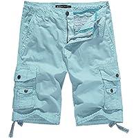 WenVen Men's Cotton Twill Cargo Shorts Outdoor Wear Lightweight No.4 Skyblue 40