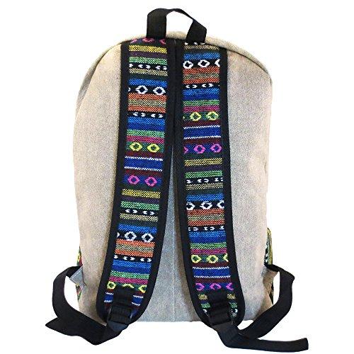 [モノジー] MONOZY エスニック風 帆布 リュックサック アジアン グレー 民族風 キャンバス リュックサック