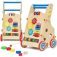 AsToy ベビーウォーカー 木製 手押し車 赤ちゃん つかまり立ち おもちゃ 高さ調節 歩行器 ベビー 6ヶ月から 屋内遊具 木のおもちゃ 出産祝い 誕生日プレゼント