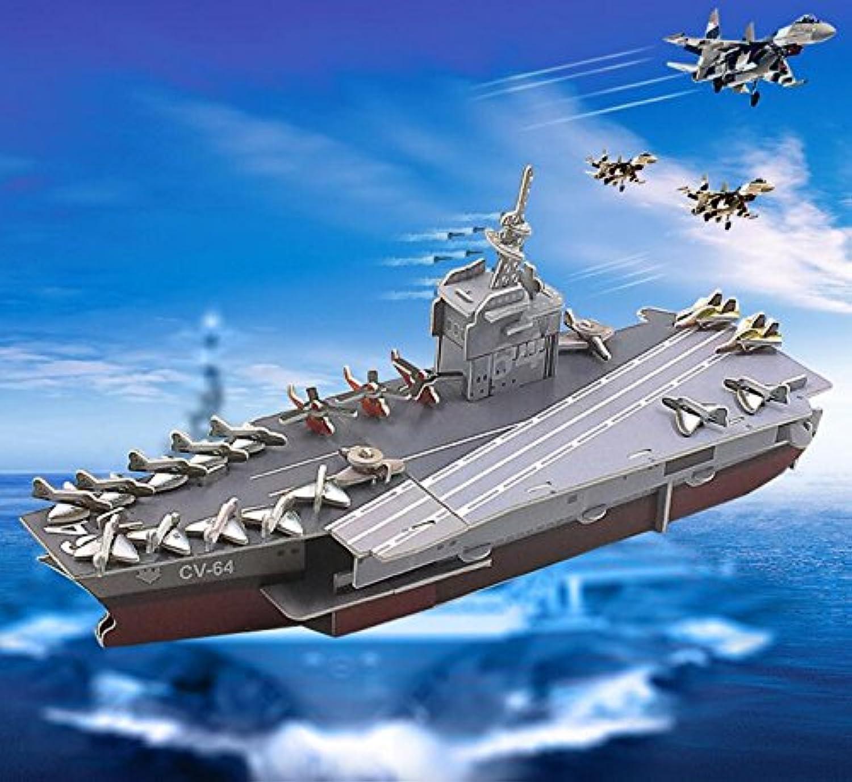 HuaQingPiJu-JP 創造的な教育3Dパズルアーリーラーニングシェイプおもちゃファンタスティックギフト子供(航空母艦)